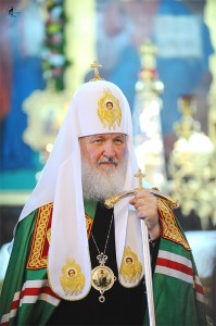 Патр.Кирилл с панагией,изображающей П-А Божию Матерь